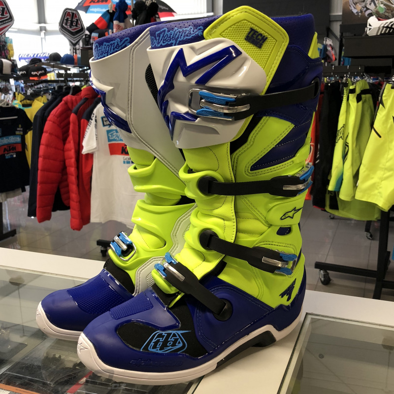 Boty na motokros Alpinestars TECH 7 Boot TroyLeeDesigns Flo Yellow Blue 3a84dca578