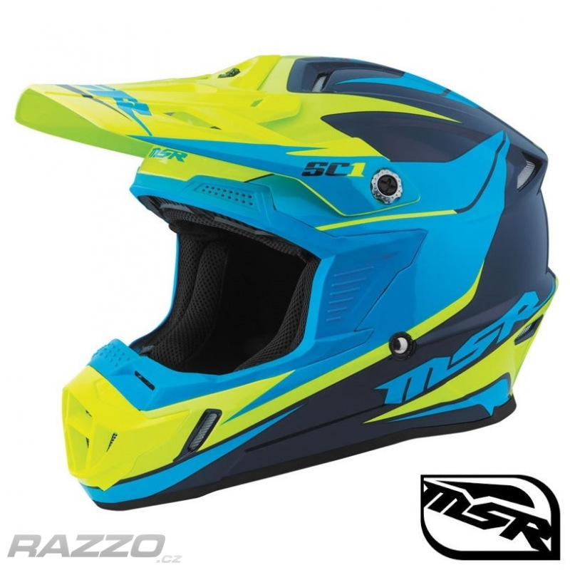 730716ae363 Dětská helma na motokros a čtyřkolky MSR SC1 Youth Helmet Phoenix Navy Cyan  Yellow 2017