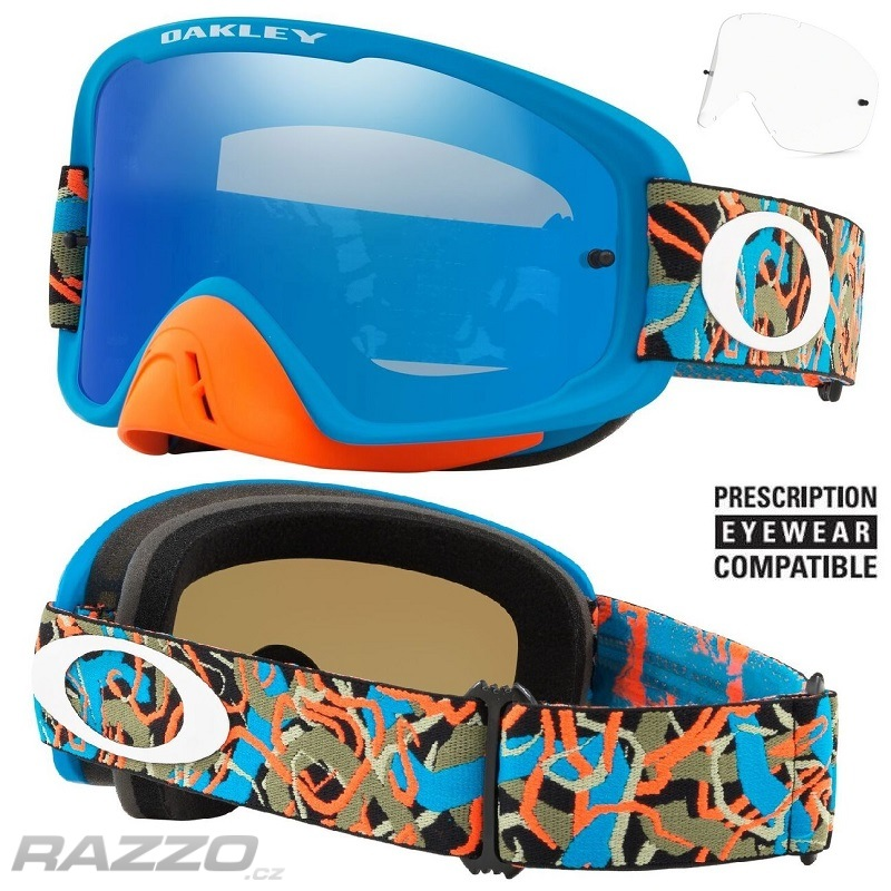 2c8cf89be7 MX brýle Oakley O2 MX Camo Vine Jungle Blue Orange Black Ice Iridium +  Clear Lens