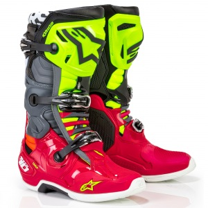 Boty na motokros Alpinestars TECH 10 Anaheim Red Black Yellow Flo 2019
