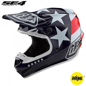 Dětská helma na motokros TroyLeeDesigns SE4 Youth Polyacrylite Freedom Red White 2020