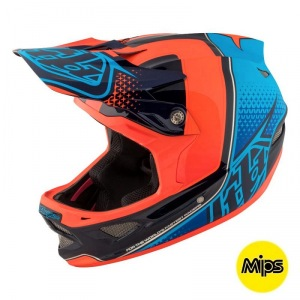 Downhill helma TroyLeeDesigns D3 Carbon Helmet MIPS Starburst Orange