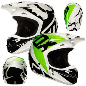 MX helma FOX V1 Race Helmet White Black Green 2018
