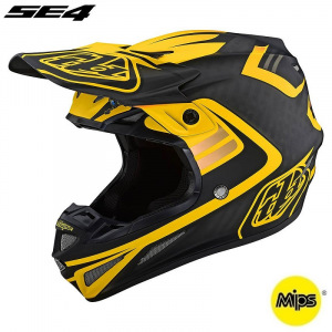 MX helma TroyLeeDesigns SE4 Carbon Flash Black Yellow 2021 + brýle zdarma