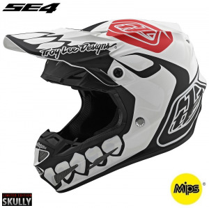 MX helma TroyLeeDesigns SE4 Composite Skully White Black 2020