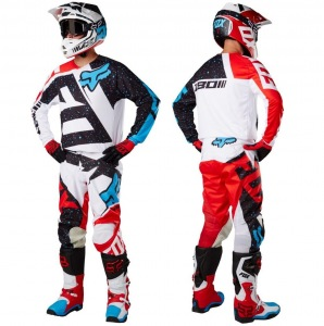 MX komplet FOX 180 Jersey + Pant Nirv Red White 2017