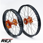 MX sada kol REX Wheels KTM EXC 03-15 RexFelgen Blk 21x1,6 + 18x2,15 / Orange Hub