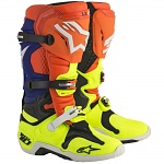 Boty na motokros Alpinestars TECH 10 Boot Orange Flo/Blue/White/Yellow Flo