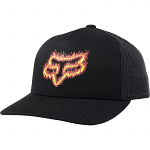 Dětská čepice FOX Youth Flame Head Snapback Hat Black Orange