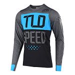 Dres na kolo TroyLeeDesigns Skyline LS Jersey Speedshop Heather Charcoal Ocean 2019