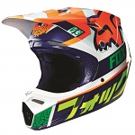 MX helma FOX V3 Divizion Helmet Orange Blue 2016