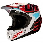 MX helma FOX V1 Falcon Helmet Grey Red 2017