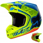 MX helma FOX V2 Helmet Nirv Yellow Blue 2017