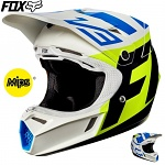 MX helma FOX V3 Creo Helmet White Yellow 2017