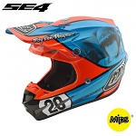 MX helma TroyLeeDesigns SE4 Composite McQueen Blue Orange 2018