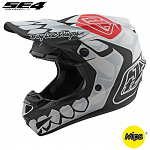 MX helma TroyLeeDesigns SE4 Polyacrylite Skully White 2020
