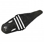 Potah sedla DCore Gripper Factory Seat Cover KTM SX SXF 19-.. EXC 20-.. Team Black White Ribs